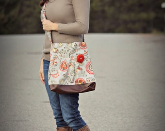 Concealed Carry Purse, Medium Messenger Bag, Grey and Orange, Conceal Carry Handbag, Concealed Carry Purse, Conceal and Carry