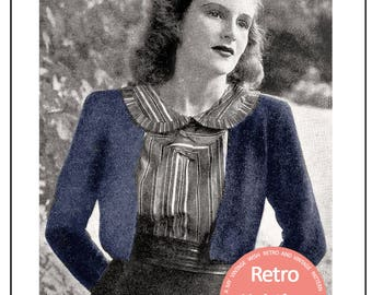 1940s Moss Stitch Bolero Knitting Pattern - PDF Instant Download