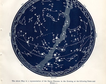 1887 Antique Astronomy Print Constellations Star Map January February Celestial Science Space Vintage Astronomy Print