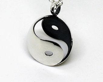 Silver Yin Yang necklace, 3d Yin Yang pendant