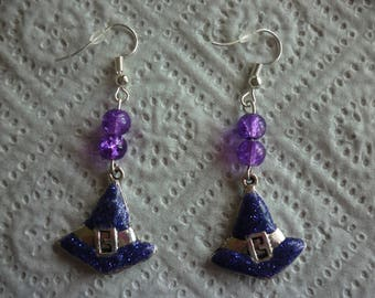 Duo beads and purple witch Hat earrings.