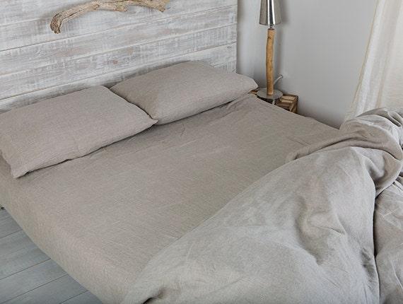Linen Sheet  Linen Bed Sheets Natural Flax Color  Washed Linen Bedding   Linen King Bed Sheet Linen Fitted Bed Sheet Linen Flat Bed Sheet .
