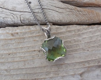 ON SALE Gorgeous green amethyst necklace handmade in sterling silver 925