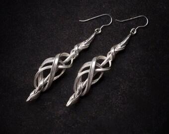Silver ELVEN Earrings -  Art Nouveau earrings, Boho earrings, Celtic earrings, Bridal earrings, Silver earrings