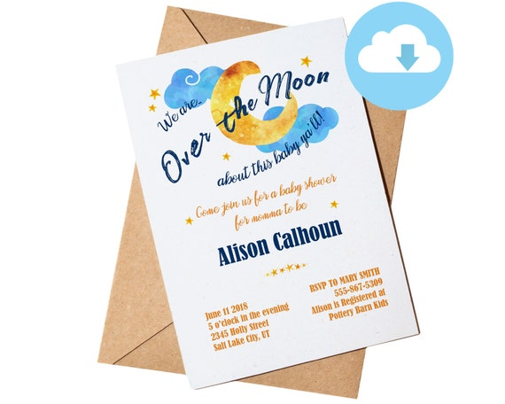 Over the moon baby shower invitation card editable pdf over the moon baby shower invitation card editable pdf instant digital download stopboris Images