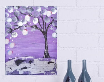 GICLEE PRINT Abstract Tree Painting Textured Purple, Silver Foil, Black,Modern Art Wall Decor