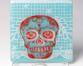 Calavera Fused Glass Coaster, drink coaster, bar coaster, glassware