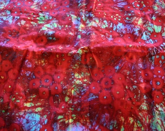 Beautiful Red and Turquoise  Batik