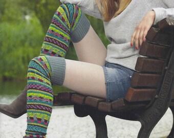Jaquard OverKnee Leg Warmers Cabled Warm Hand Knitted Ladies / Girls / Women Wool Blend