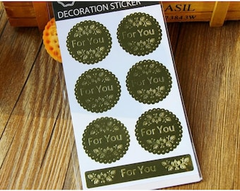 Gold Foil Stickers - Embossed Stickers - Gold Favor Stickers - For You Stickers