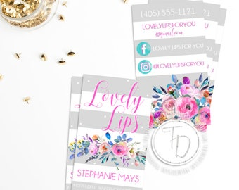 LipSense Business Card Printable, Floral Business Card, SeneGence Business Card, Striped Business Card, LipSense Branding Kit, LipSense Card