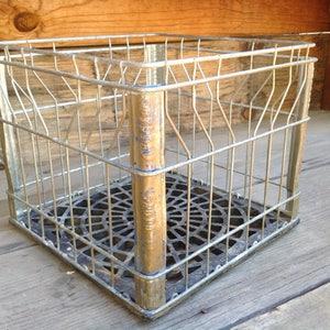 Vintage Crate, Industrial Decor, Primitive Decor, Old Metal Crate, Vintage Milk Crate, Black Metal Crate, Crusty Rusty Farmhouse Decor, Box