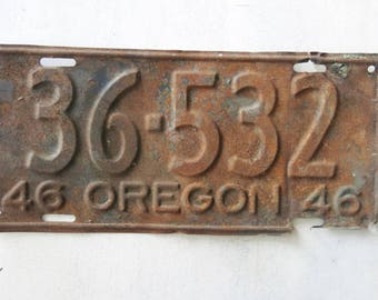 Salvaged 1946 Oregon License Plate Rusted to Perfection