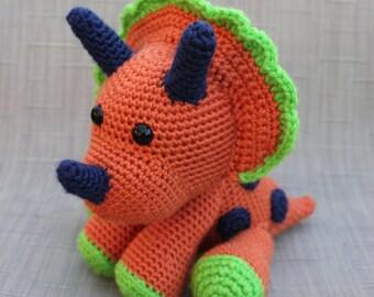 Dinosaur Stuffed Toy – Crochet Plush Animal – Dinosaur Amigurumi – Baby Plush Animal -  Triceratops Plush – Dinosaur Nursery Decor