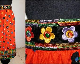 Vintage Folk Skirt 60's 70's Boho Mod Danish Print Maxi Skirt Hostess  Bohemian Gypsy Embroidered Maxi Skirt