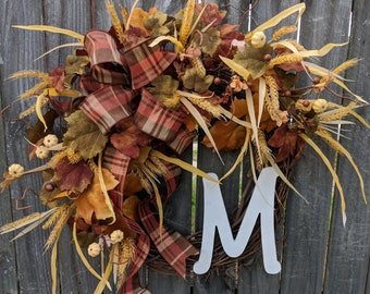 Fall Wreath Brown and Cream, No Orange, Cream/Off White Pumpkins, Fall Decoration, Fall Door Wreath, Fall Monogram Letter Wreath