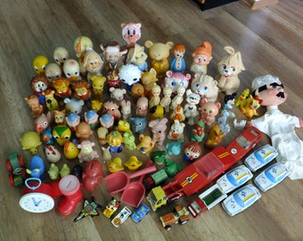 Vintage lot set of rubber plastic wood tin toys 100 pcs