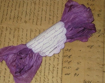 Scrunched Seam Binding, Violet Vintage Hand Dyed and Hand Crinkled Seam Binding Ooh La La So Paris