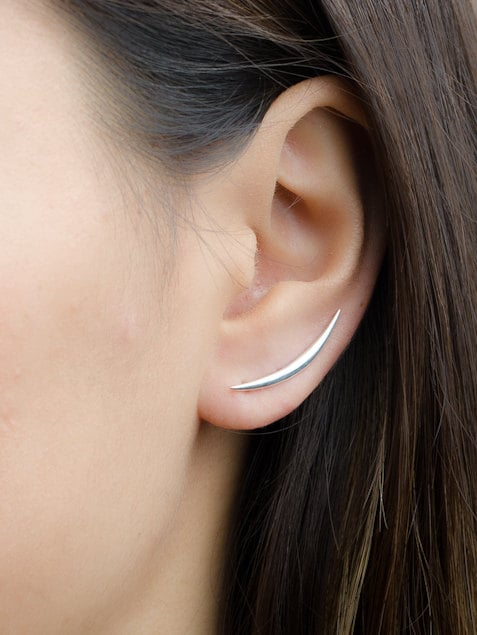crescent moon ear climbers sterling silver gold plated moon. Black Bedroom Furniture Sets. Home Design Ideas