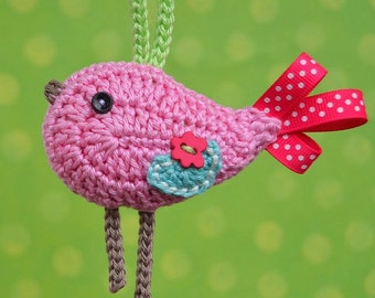 Crochet bird ornament/ pendant - pattern, DIY