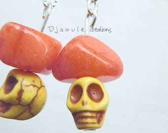 """Yellow skulls"" earrings - unique"