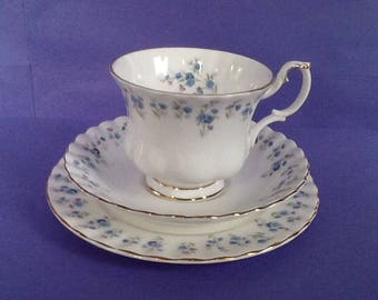 Royal Albert Memory Lane Teacup Saucer Dessert Plate, Bone China England Bread and Butter Plate, Forget Me Not Flowers Border Teacup