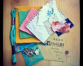 Slow Stitching Brooch Kit #1