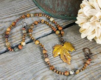 Autumn Breeze Necklace - Autumn color jewelry - Maple leaf - Jasper stone - semi precious stones - orange necklace - large pendant - Rustic