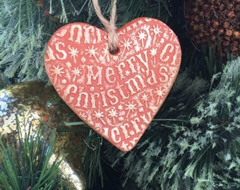 Terracotta and gold heart, christmas decoration, clay decoration, merry christmas