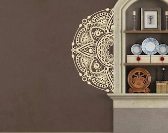 Mandala Half Vinyl Wall Decal for nursery, playroom, living room + more K687