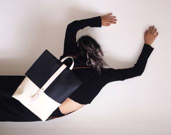 neon4m Backpack/ Tasche/ Leather Bag/Leder Rücksack/ Lkw Plane/Minimalism/Laptop Tasche/Laptop Bag