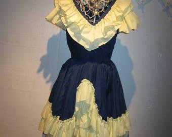 Vintage Navy Blue & Yellow Mega Ruffles Square Dance Dress