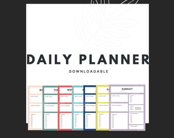 Daily Weekly Planner Downloadable Colorful Goal Oriented