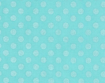 Azure Pearlized Polka Dot Cotton Fabric -  Spot On by Robert Kaufman Fabrics - Perfect for Nursery, Clothing, and Quilts