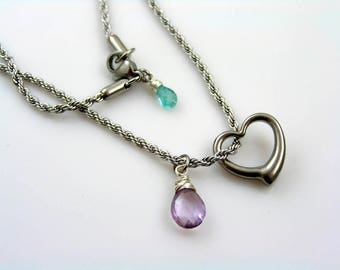 Swinging Heart Necklace, Heart and Amethyst Necklace, Swinging Heart Pendant, Birthstone Necklace with Heart Charm, Birthstone Jewelry, 1211