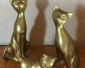 Set of 3 Large Vintage Brass Cat Statues