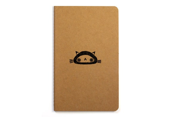 Cute Moleskine notebook Cat - Handstamped with cute character illustration - A5 / medium