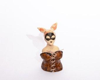 Miss Bunny Pop Surreal Ceramic Sculpture