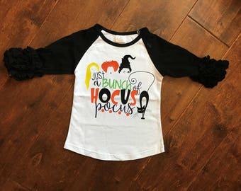 Girls Hocus Pocus, Icing ruffle raglan, Sanderson sisters, Halloween shirt.