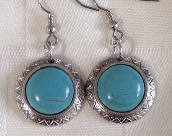 Turquoise earrings, silver turquoise earrings, turquoise drop earrings, turquoise dangle earrings, statement turquoise, southwest earrings