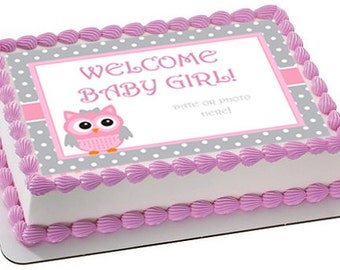 Baby Shower Edible Cake Topper, Baby Shower Cake Image, Owl Baby Shower Cake,  Owl Baby Shower, Owl Baby Shower Cupcakes, Owl Cake Topper