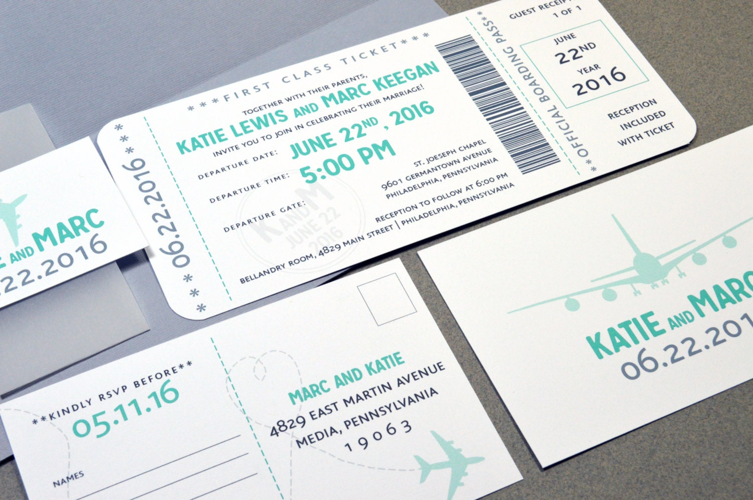Boarding Pass Wedding Invitations Plane Ticket Invite Set Aqua - Boarding pass wedding invitation template