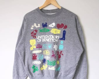 Vintage United Colors Of Benetton Crewneck Jumper Sweatshirt Benetton Italy Italy Brand Streetwear