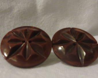 Vintage Bakelite Button Earrings