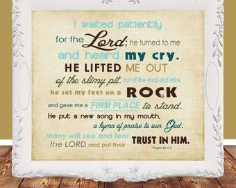 Bible Verse, printable, Wall art, Scripture printable, Scripture Art, Psalm 40 Christian Typography, DIY, Instant Download