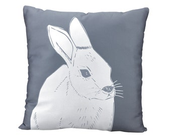 Grey Rabbit Pillow Cover, Neutral Animal Pillow Cover, Woodland Animal Rabbit Nursery Easter Bunny Pillow Cover, Easter Decoration