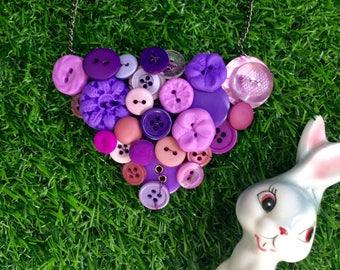 Purple Button Necklace, Retro, Vintage Button Necklace, Colourful Statement Necklace