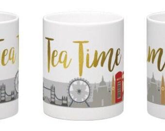Personalized mug - tea time - addepte tea - mug - gift idea - London mug Golden mug - mug gold