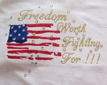 Ladies Embroideed Flag July 4th Tee Shirt with Crystals