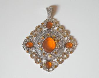Antique silver necklace rhinestone pendant orange